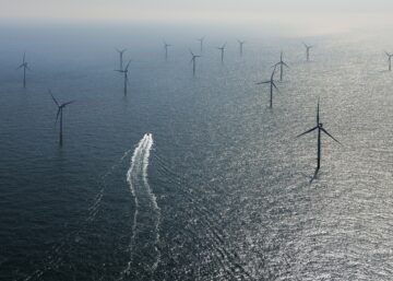 Picture of a boat in the Belgian Offshore wind farms