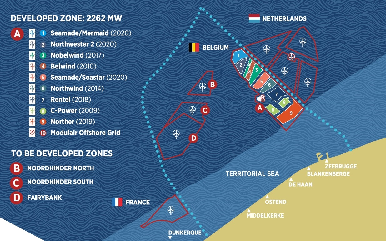 Map of the Belgian offshore wind farms